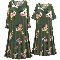 SALE! Customizable Plus Size Brushed Olive Floral Print Sleep Gown - Muumuu - Moo Moo Dress 0x 1x 2x 3x 4x 5x 6x 7x 8x 9x