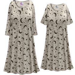 SALE! Customizable Plus Size Moon & Stars Print Sleep Gown - Muumuu - Moo Moo Dress 0x 1x 2x 3x 4x 5x 6x 7x 8x 9x