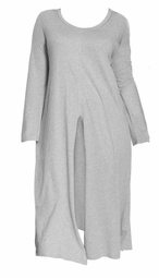 SALE! Plus Size Gray Cotton/Rayon Jersey Slit Front Tunic 4x