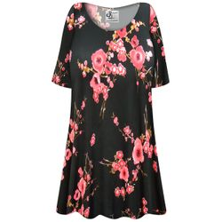 CLEARANCE! Plus Size Plum Blossom Slinky Print Short Tops 4x
