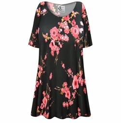 SOLD OUT! Plus Size Plum Blossom Slinky Print Short Tops 4x