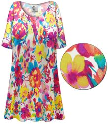 CLEARANCE! Plus Size Spring Flowers Slinky Print Short or Long Sleeve Shirts - Tunics - Tank Tops - Sizes 6x