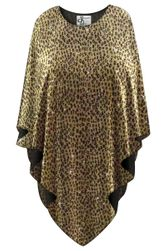 NEW! Sparkling Gold & Black Glimmer Animal Print Plus Size Supersize Poncho