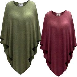 NEW! Sweatery Soft Olive or Burgundy Color Plus Size Supersize Poncho
