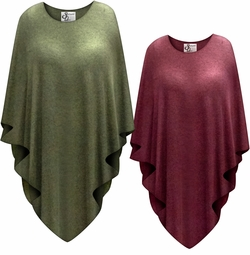 SALE! Sweatery Soft Olive or Burgundy Color Plus Size Supersize Poncho