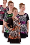 CLEARANCE SALE! Pretty Black Pink Gray Green Slinky Print Plus Size Tops! 4x
