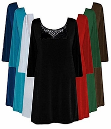 Pretty! Rhinestone Solid Color Slinky Plus Size & Supersize Shirts Lg XL 0x 1x 2x 3x 4x 5x 6x 7x