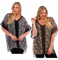 SOLD OUT! Black or Olive Print Chiffon Top Plus Size  5x