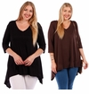 SALE! Solid Color Sharkbite Hem Top Plus Size 4x
