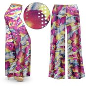SALE! Purple & Lime Floral With Sparkles Slinky Print Plus Size & Supersize Palazzo Pants - Capri's - Size 3x