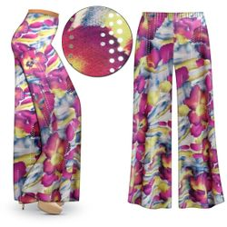 SOLD OUT! Purple & Lime Floral With Sparkles Slinky Print Plus Size & Supersize Palazzo Pants - Capri's - Size