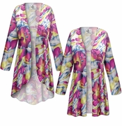 CLEARANCE! Purple & Lime Floral With Sparkles Slinky Print Plus Size & Supersize Jackets & Dusters 4x