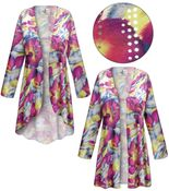 SALE! Purple & Lime Floral With Sparkles Slinky Print Plus Size & Supersize Jackets & Dusters 3x 4x