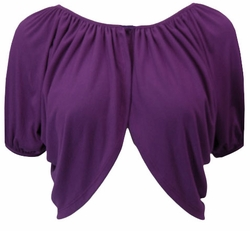 Purple Soft Short Sleeve Plus Size Supersize Shrug XL 0x 1x 2x 3x 4x 5x 6x 7x