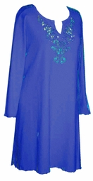 SALE! Plus Size Blue Rhinestone Tops, Sparkly Plus Size & Supersize Extra Long Shirts 0x 1x 2x 3x 4x 5x 6x 7x 8x 9x