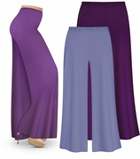 CLEARANCE! Plus Size Purple Wide Leg Palazzo Pants in Slinky, Velvet or Cotton Fabric XL