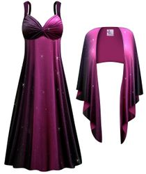 CLEARANCE! 2-Piece Purple to Black Glittery Slinky Plus Size SuperSize Princess Seam Dress Set  7x