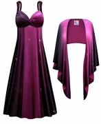SOLD OUT! 2-Piece Purple to Black Glittery Slinky Plus Size SuperSize Princess Seam Dress Set  7x