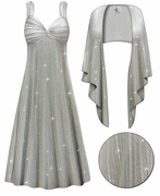 SALE! 2-Piece Sheer Sparkly Gray Crinkle Print- Fully Lined Plus Size SuperSize Princess Seam Dress Set 9x