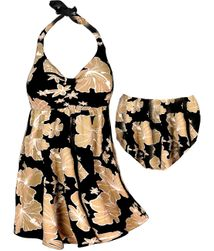 CLEARANCE! Plus Size Pretty Tan Floral Print Halter Swimsuit/SwimDress 0x