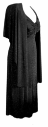 SALE! Plus Size 2 Piece Princess Seam Dress & Wrap Set: Black Glimmer - Velvet - Slinky - Poly-Cotton Lg XL 0x 1x 2x 3x 4x 5x 6x 7x 8x 9x
