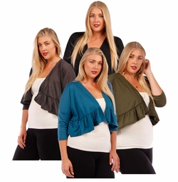 SOLD OUT! 3/4 Sleeve Soft Rayon Jersey Shrug with Ruffled Hemline Plus Size 4x