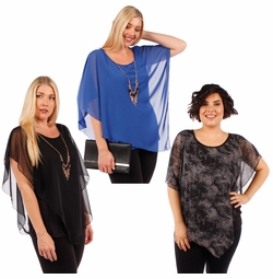SOLD OUT! Plus Size Charcoal or Blue Asymmetrical Layered Chiffon Top With Goldstyle Accent Necklace 4x