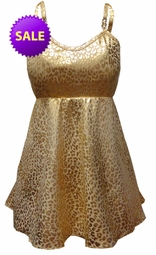 SOLD OUT! Babydoll Style Plus Size 2 Piece Swim Tank With Matching Bottoms in Gold Leopard Metallic Print Plus Size Supersize Swimsuit 4x 5x
