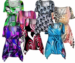 SOLD OUT! Beautiful Colorful Slinky Print Supersize & Plus Size Babydoll Tops 0x 2x 4x 6x 8x