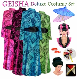 SALE! Beautiful Damask Stencil Geisha Costume Plus Size & Supersize 0x 1x 2x 3x 4x 5x 6x 7x 8x 9x