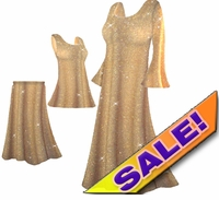 CLEARANCE! Beautiful Golden Tan & Gold Glittery Plus Size & Supersize Tops and Dresses 0x 3x