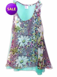 SOLD OUT! Beautiful Minty Blue & Pink Floral Print Semi Sheer A-Line Overshirt Supersize & Plus Size Tops 0x