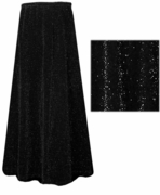 CLEARANCE! Beautiful Shimmering Black & Black Glimmer Long Flowing Plus Size Skirt 3x 4x