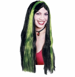 SALE! Black and Green Streak Wig