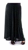 CLEARANCE! Plus Size Black With Diagonal Stripe Pin Dots Long Skirt 0x