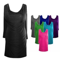 FINAL CLEARANCE SALE! Drape Neckline Plus-Size Slinky Top 0x 1x