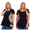 SALE! Black & Gray or Black & Purple Top with Side Ties Plus Size 1x 2x 3x 4x