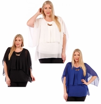 SALE! Black, Ivory or Blue Plus Size Layered Chiffon Top 4x