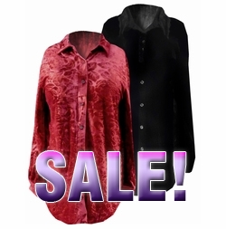 SOLD OUT! Black or Red Velvet Button-Down Plus Size Blouses  2x