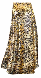 FINAL CLEARANCE SALE! Plus Size Black Ornate With Gold Metallic Slinky Print Skirt 4x