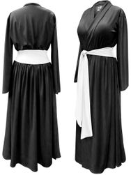 SALE! Black Poly/Cotton Robe With Attached White Belt - Plus Size Supersize 0x 1x 2x 3x 4x 5x 6x 7x 8x 9x