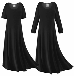 CLEARANCE! Plus Size Black Slinky Sleeved Dresses 1x XL 0x 1x 2x 3x 4x