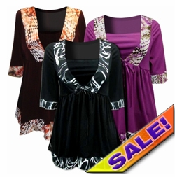 SOLD OUT! FINAL SALE! Just Reduced! Black & White Brown & Tan or Magenta Plus Size Babydoll Tie Slinky Shirts 4x 6x