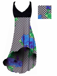 SOLD OUT! Black & White Checkerboard With Blue Roses Print Slinky Plus Size Hi-Low Empire Waist Dress add Matching Wrap 1x