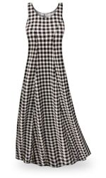 CLEARANCE! Black & White Gingham Plus Size & SuperSize Princess Cut Poly/Cotton Jersey Dress 0x 1x