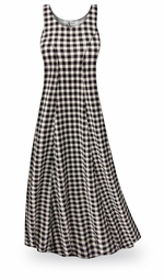 CLEARANCE! Black & White Gingham Plus Size & SuperSize Princess Cut Poly/Cotton Jersey Dress 1x