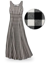 SALE! Black & White Gingham Plus Size & SuperSize Princess Cut Poly/Cotton Jersey Dress 0x 1x 2x