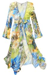 CLEARANCE! Blue Green Tropical Aloha Print Sheer Blouse Swimsuit Coverup Plus Size & Supersize 1x