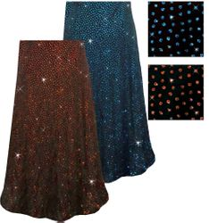 CLEARANCE! Blue or Red/Orange Glitter Dots Slinky Print Plus Size & Supersize Skirts 3x