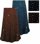 SOLD OUT! Blue or Red/Orange Glitter Dots Slinky Print Plus Size & Supersize Skirts 3x